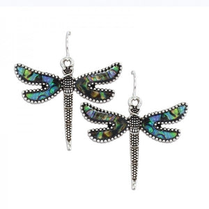 Abalone Dragonfly Drop Earrings