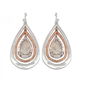 Tri-Tone Teardrop Earrings