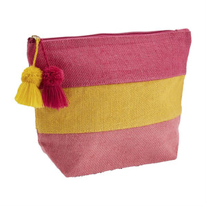 Pink Color Block Jute Case