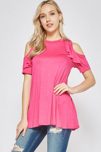 Hot Pink Ruffled Cold Shoulder Tunic Top