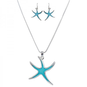 Blue Starfish Necklace & Earring Set