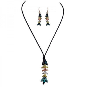 Tri-Tone & Patina Bonefish Necklace & Earring Set