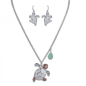 Glittering Sea Turtle Necklace & Earring Set