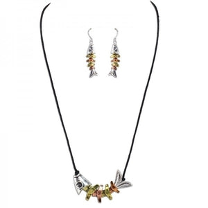 Tri-tone Fishbone Necklace & Earring Set