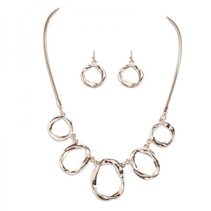 Rose Gold Circle Necklace & Earring Set