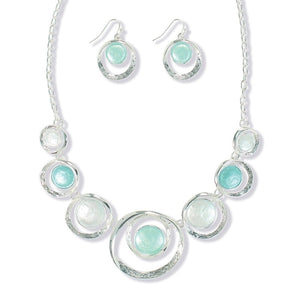 Mint Enamel Necklace & Earring Set