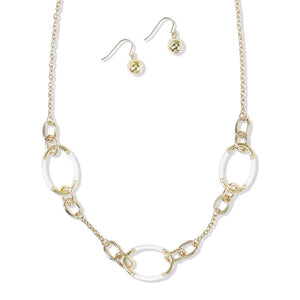 Gold & White Enamel Necklace & Earring Set