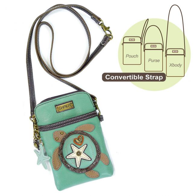 Chala Small Phone Purse Adjustable Strap Turquoise Turtle