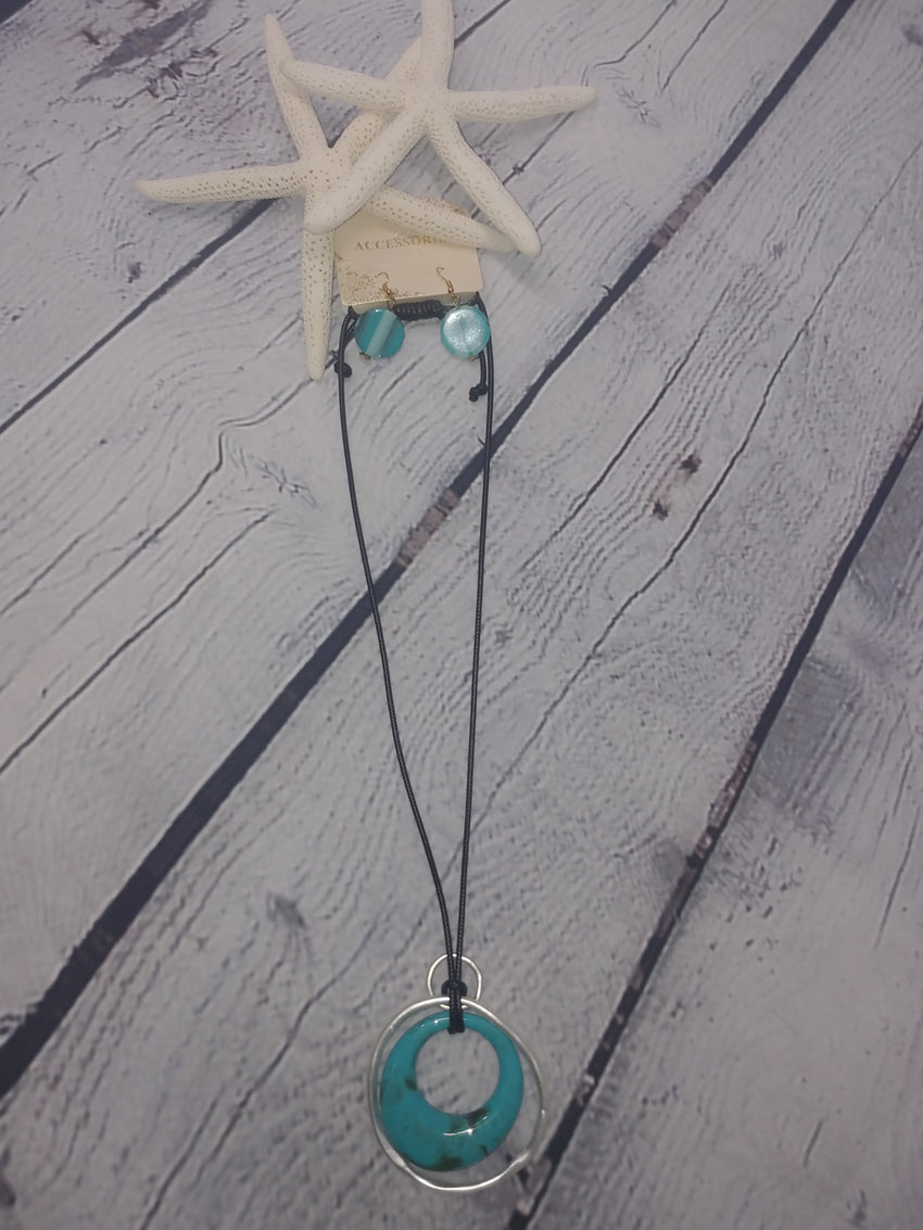 Turquoise Ring Necklace Set