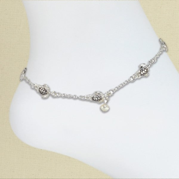 Silver Turtle & Pearl Anklet
