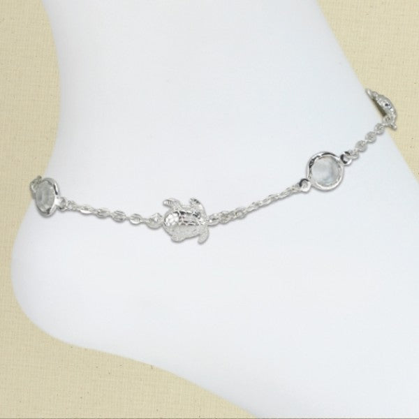 Turtle & Crystals Anklet