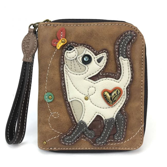 Slim Cat Zip Around Wallet