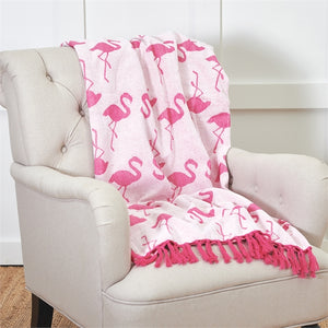 Chenille Flamingo's Throw