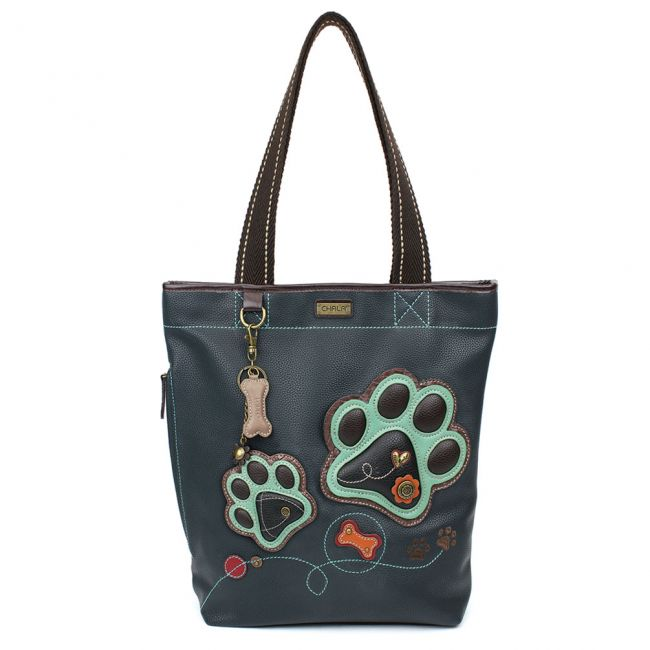 Teal Paw Print Everyday Zip Tote