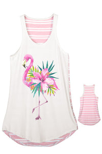 Flamingo Flower Tank Top