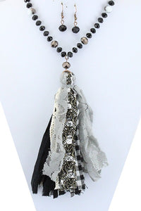 Fabric Tassel Necklace & Earring Set - Available in 3 Colors!