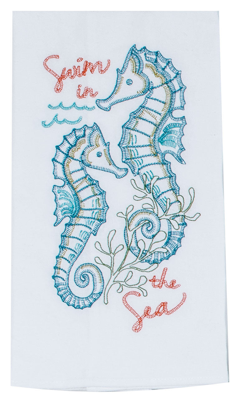 Seahorses Embroidered Flour Sack Towel
