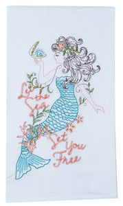 Mermaid Embroidered Flour Sack Towel