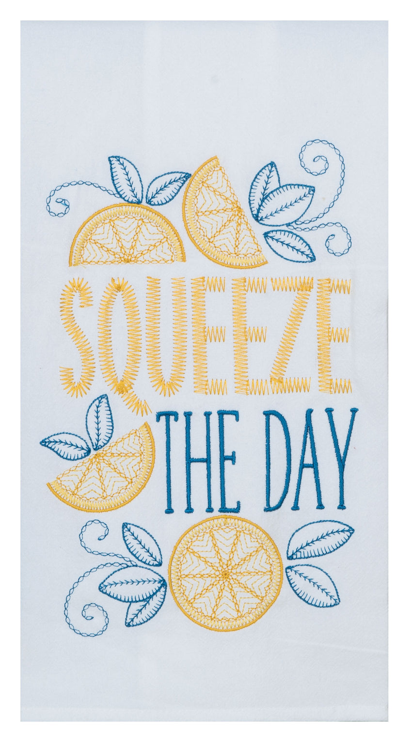 Squeeze the Day Embroidered Flour Sack Towel