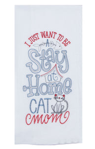 Purr Cat Mom Embroidered Flour Sack Towel