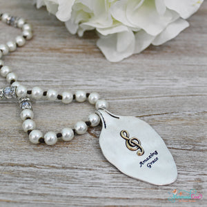 Amazing Grace Pearl Spoon Necklace