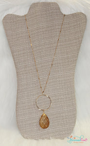 Amber Teardrop Necklace & Earring Set