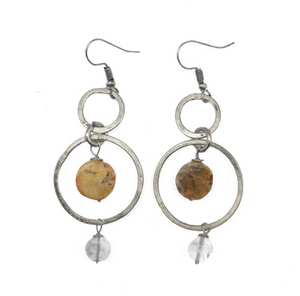 Antique Opal and Quartz Earrings