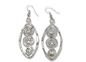 Antique Silver with Oval Spirals Earrings