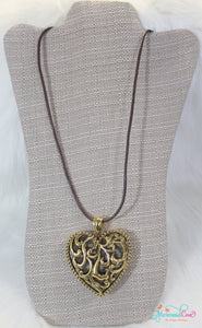 Antique Heart Necklace - Gold