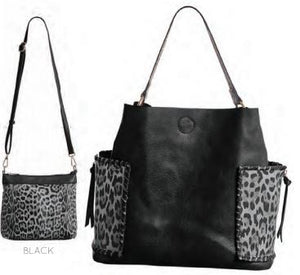 Avery Leopard Bucket Bag with Crossbody & Wallet - Available in 2 Colors!
