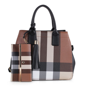Black Cyrus Plaid Satchel & Wallet