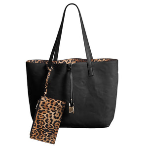 Valerie Reversible Leopard Tote, 3 Piece Set - Available in 2 Styles!