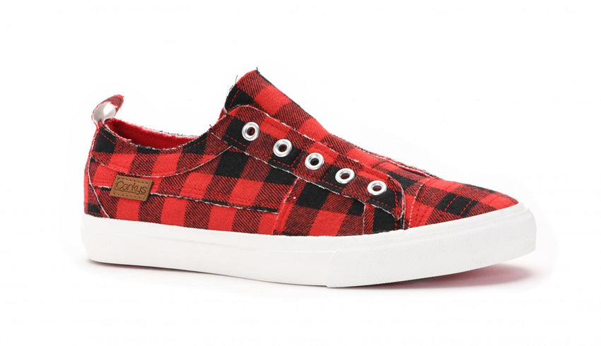 Babalu Slip On Sneakers in Red Plaid
