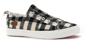 Babalu Slip On Sneakers in White Plaid