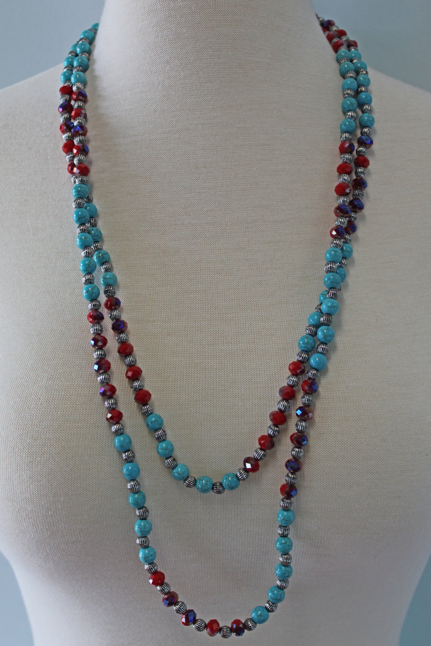 Beaded Turquoise Necklace & Earring Set