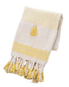 Ochre Striped Woven Throw with Braided Tassels