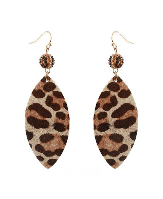 Crystal Leather Pattern Marquise Earring