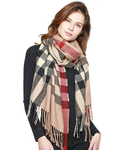 Classic Plaid Fringed Scarf  - Available in 2 Colors!