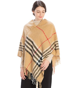Chloe Checker Plaid Poncho - Available in 2 Colors!