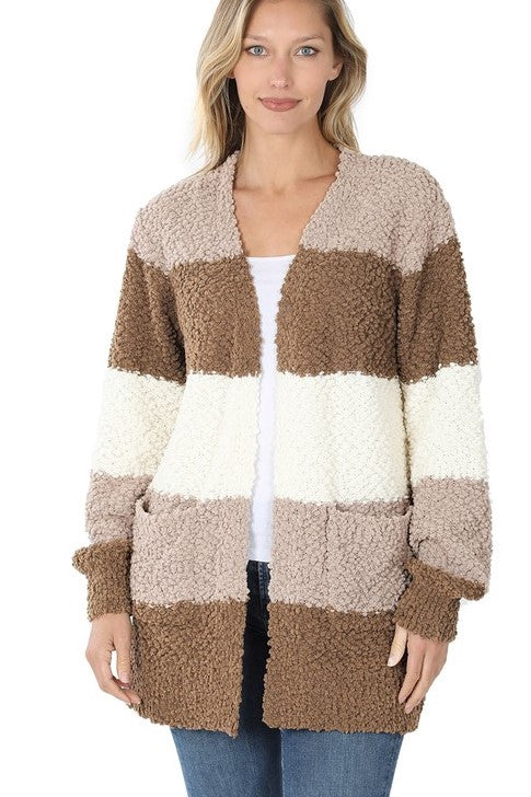 Colorblock Popcorn Cardigan - Available in 2 Colors