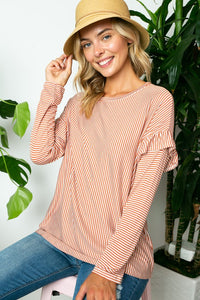 Cora Copper Pinstripe Top