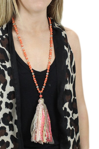Coral Tassel Necklace & Earring Set