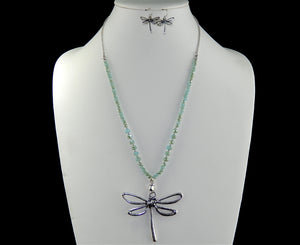 Dragonfly Beaded Necklace Set - Available in 3 Colors