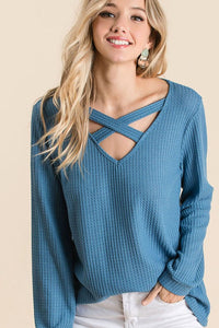 Amber Thermal Waffle Top in Denim