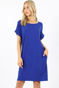 Olivia Rolled Short Sleeve Dress - Available in 8 Colors!