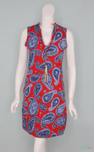 Denim Paisley Sleeveless Dress