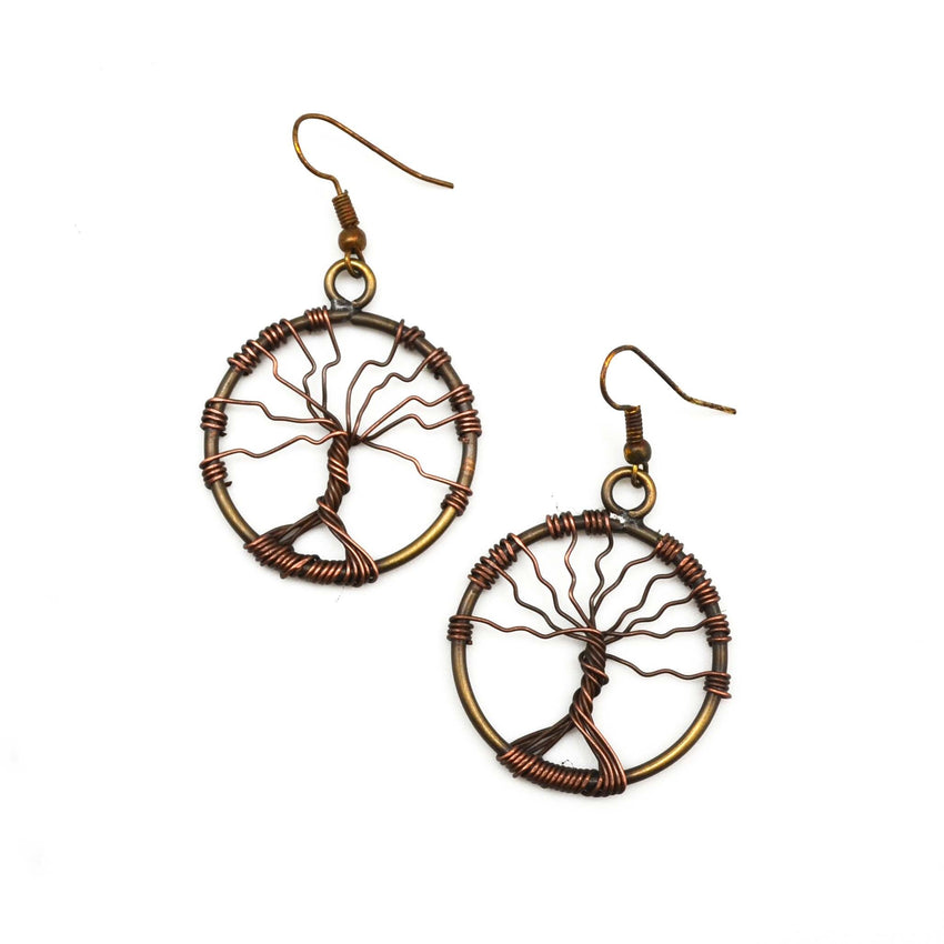 Twisted Tree of Life Earrings - Antique Brass