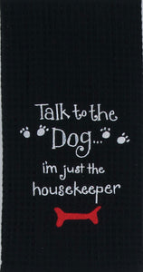 Dog Housekeeper Embroidered Waffle Towel