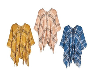 Frances Plaid Ruana - Available in 3 Colors!