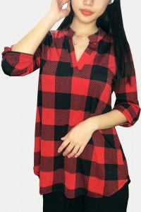 Faith Buffalo Plaid Top in Red